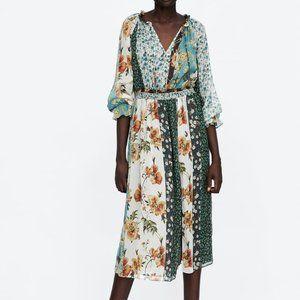 Zara Patchwork Boho Prairie Dress S